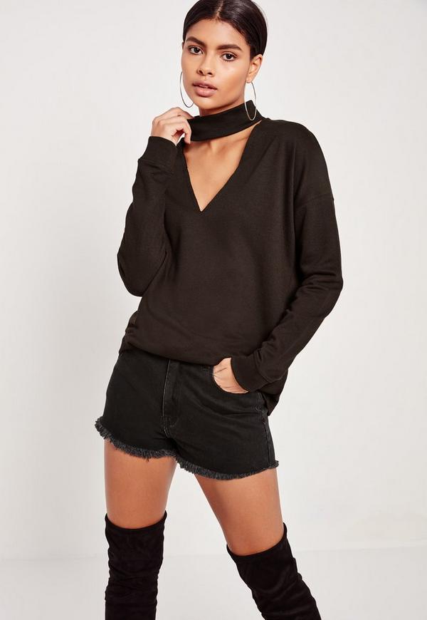 Petite Black Choker Neck Sweatshirt