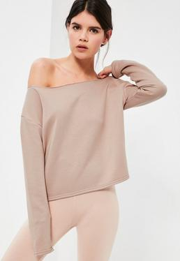Petite Nude Raw Edge Cropped Sweatshirt