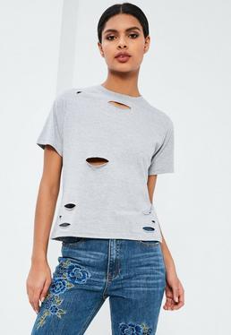 Petite Grey Ripped Boyfriend T-Shirt