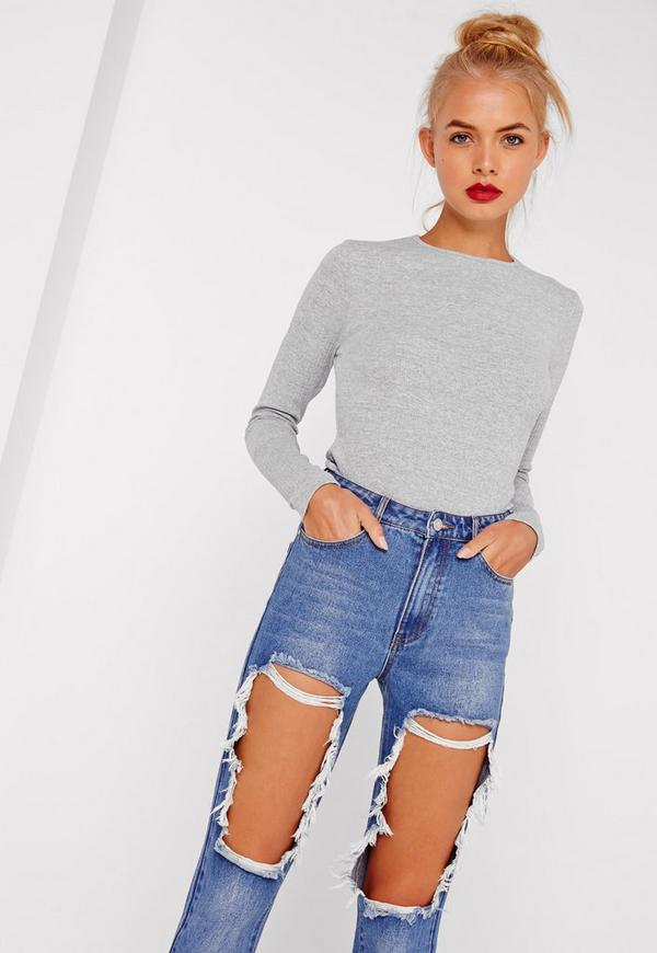 Petite Crew Neck Ribbed Top Grey
