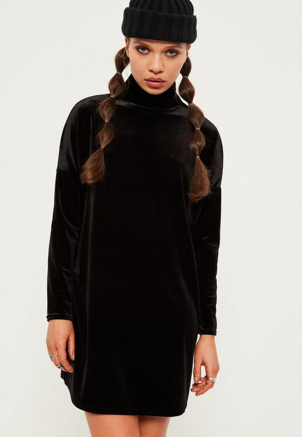 Petite Black Oversized Velvet High Neck Dress