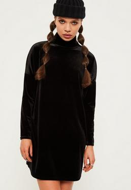 Petite Exclusive Black Oversized Velvet High Neck Dress