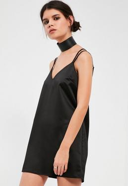 Petite Exclusive Black Satin Cami Dress
