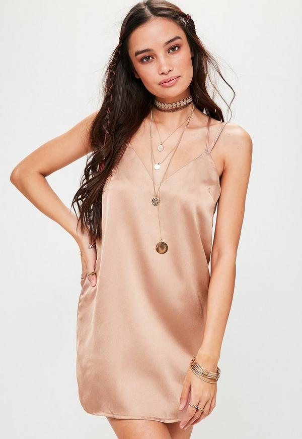 Petite Brown Satin Cami Dress