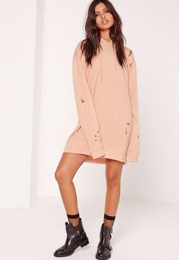 Petite Nude Ripped Hooded Sweater Dress