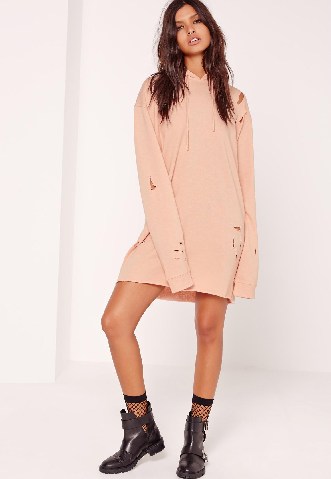 Petite Nude Ripped Hooded Sweater Dress | Missguided