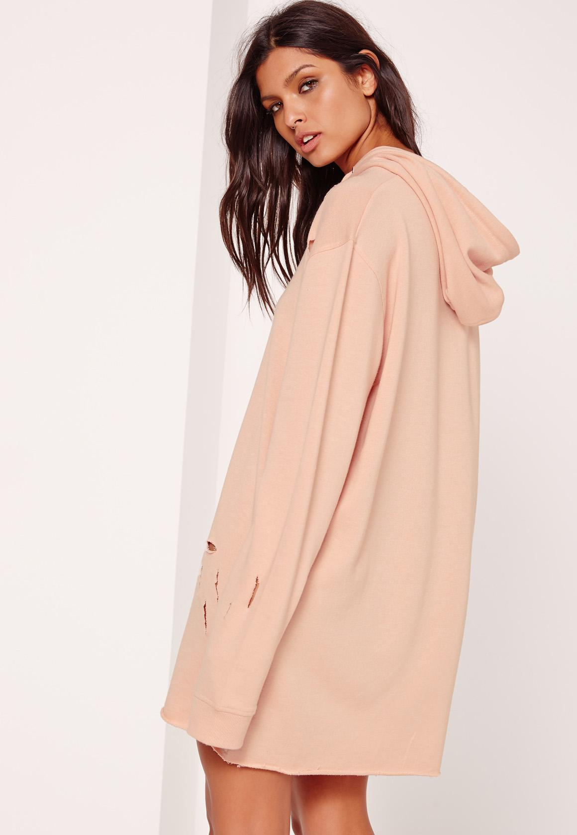 Petite Nude Ripped Hooded Sweater Dress [ZDC_469297] - $29.99 : Shop