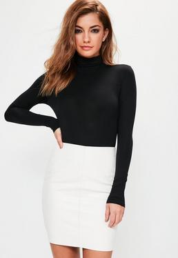 Petite Black Turtleneck Long Sleeve Bodysuit