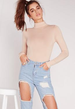 Petite Nude Turtleneck Long Sleeve Bodysuit