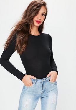 Petite Black Jersey Long Sleeve Bodysuit