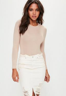 Petite Nude Jersey Long Sleeve Crew Neck Bodysuit