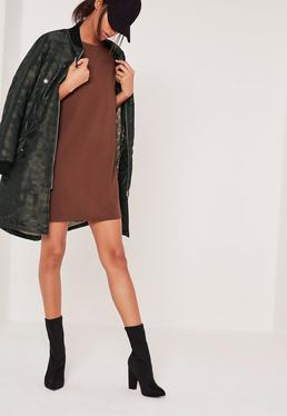 Petite Brown Scuba T-shirt Dress
