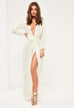 Petite Exclusive White Satin Wrap Maxi Dress