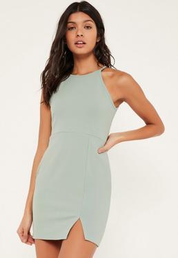 Zielona ekskluzywna sukienka mini na ramiączkach Petite