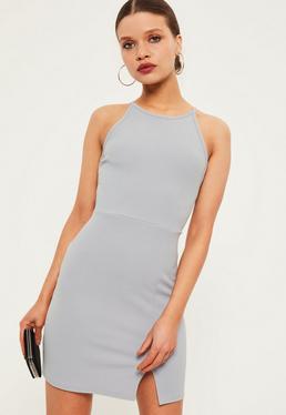 Petite Exclusive Grey Square Neck Midi Dress