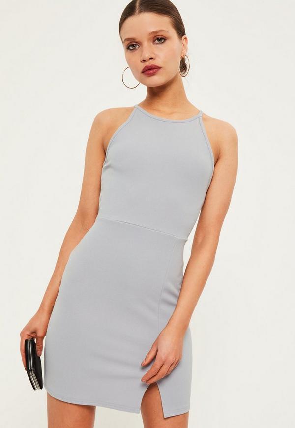 Petite Grey Square Neck Midi Dress