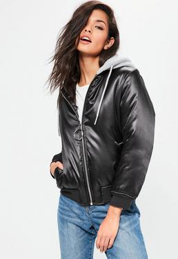 Petite Black Hooded Satin Bomber Jacket