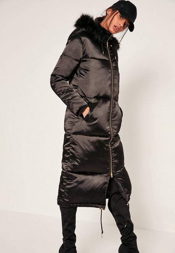 Petite Black Satin Longline Puffa Coat