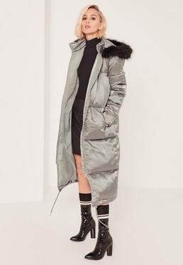 Petite Green Satin Longline Puffa Coat