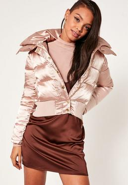 Petite Pink Satin Short Puffa Jacket