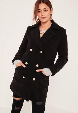 Petite Black Short Faux Wool Military Coat