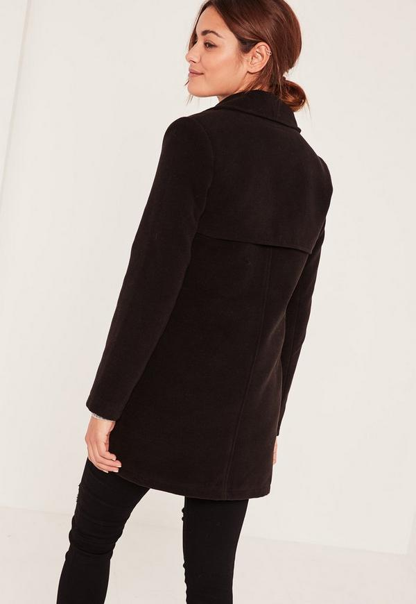 Petite Black Short Faux Wool Military Coat | Missguided