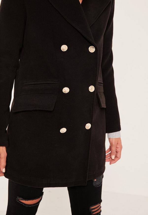Petite Black Short Faux Wool Military Coat - Missguided