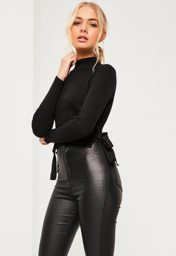 Petite Black Ribbed Crop Top