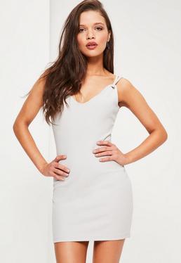 Petite Grey Strappy Mini Dress