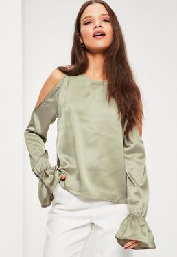 Petite Exclusive Green Satin Cold Shoulder Top