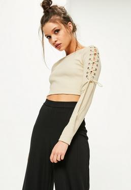 Petite Exclusive Cream Lace Up Shoulder Crop Top