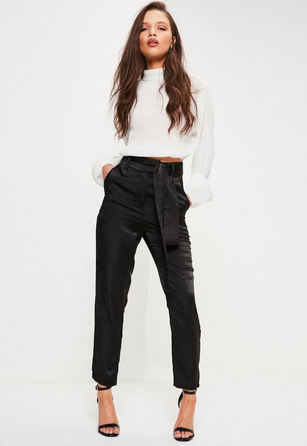 Petite Black Satin Tie Waist Trousers