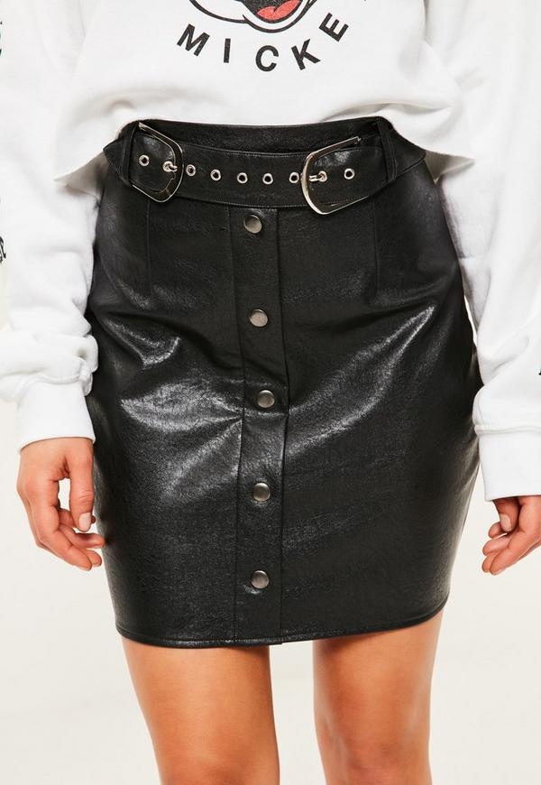 Petite Exclusive Black Faux Leather Belted Skirt | Missguided
