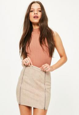 Petite Exclusive Nude Faux Suede Double Zipper Skirt