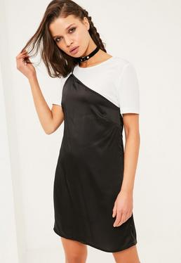 Petite Exclusive Black One Strap Overlay Dress