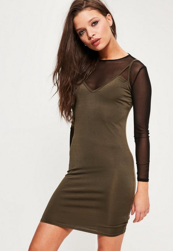 Petite Khaki Slip Overlay Dress