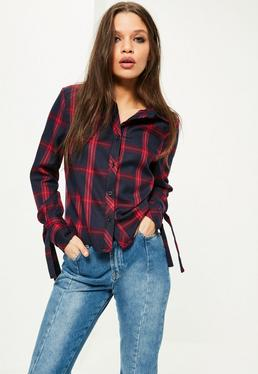 Petite Red Tie Cuff Checked Shirt