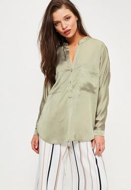 Petite Exclusive Green Satin Pocket Detail Shirt
