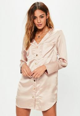 Petite Exclusive Beige Satin Pocket Shirt Dress