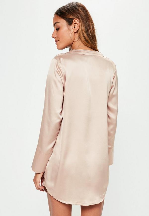 petite beige satin pocket shirt dress missguided. Black Bedroom Furniture Sets. Home Design Ideas