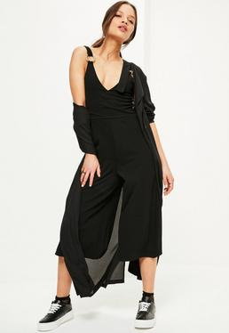 Petite Exclusive Black Ring Trim Jumpsuit