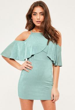 Petite Exclusive Green Slinky Racer Frill Dress