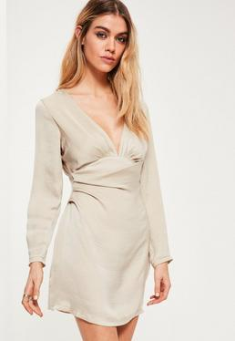 Petite Exclusive Beige Satin Plunge Neck Dress