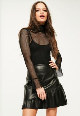 Petite Exclusive Black Mesh Frill Sleeve Bodysuit
