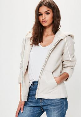 Petite White Zip Through Faux Shearling Jacket