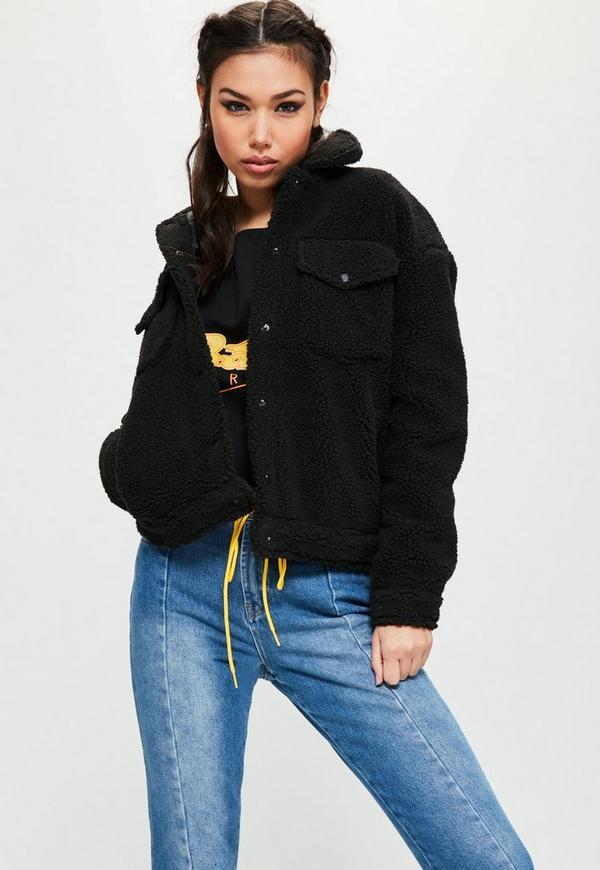 Petite Black Faux Shearling Trucker Jacket