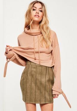 Petite Exclusive Khaki Faux Suede Skirt