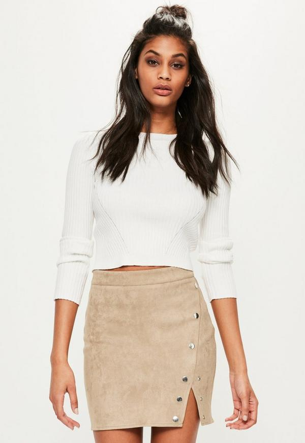 Petite Beige Press Details Faux Suede Skirt