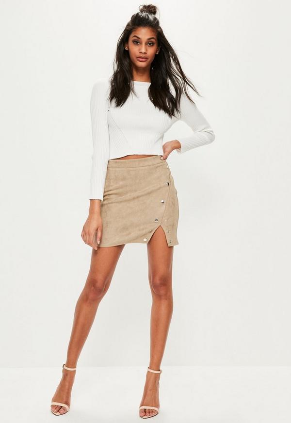 petite beige press details faux suede skirt missguided. Black Bedroom Furniture Sets. Home Design Ideas