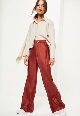 Petite Exclusive Red Satin Belted Wide Leg Pants